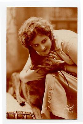 1920s Pretty Flapper LADY w/ GERMAN SHEPHERD Shepard Dog Alsatian photo postcard for sale  Shipping to Nigeria