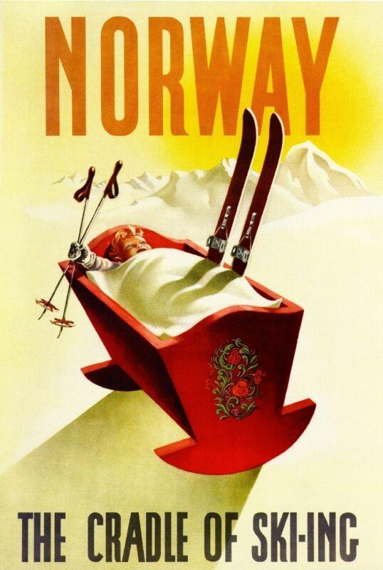 1920s Norway - Cradle of Ski-ing Europe European Travel Art Poster Advertisement