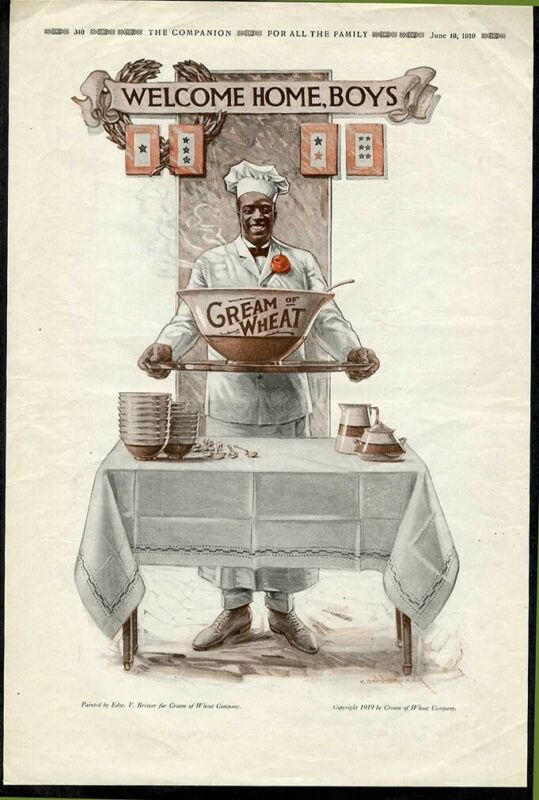 SERVICE BANNERS flag CREAM OF WHEAT WWI Ad 1919 African American HOME FRONT chef