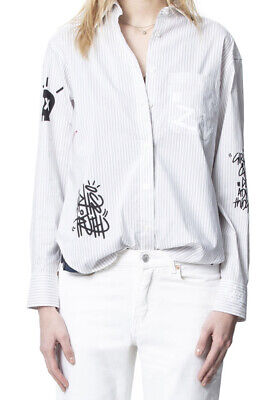 Zadig & Voltaire Woman's SZ S Tais Raye White Striped Button Blouse NWT $258