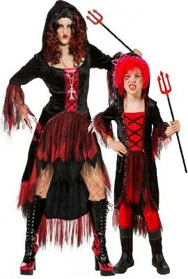 n Mädchen Devil Hexe Halloween Kostüm Verkleidung Outfit (Halloween Passende Kostüme)
