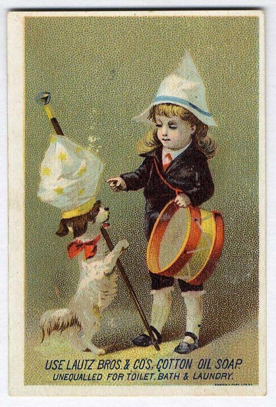 Cotton Oil LAUTZ SOAP Little Boy Drum Dog Doing Tricks VICTORIAN Trade Card