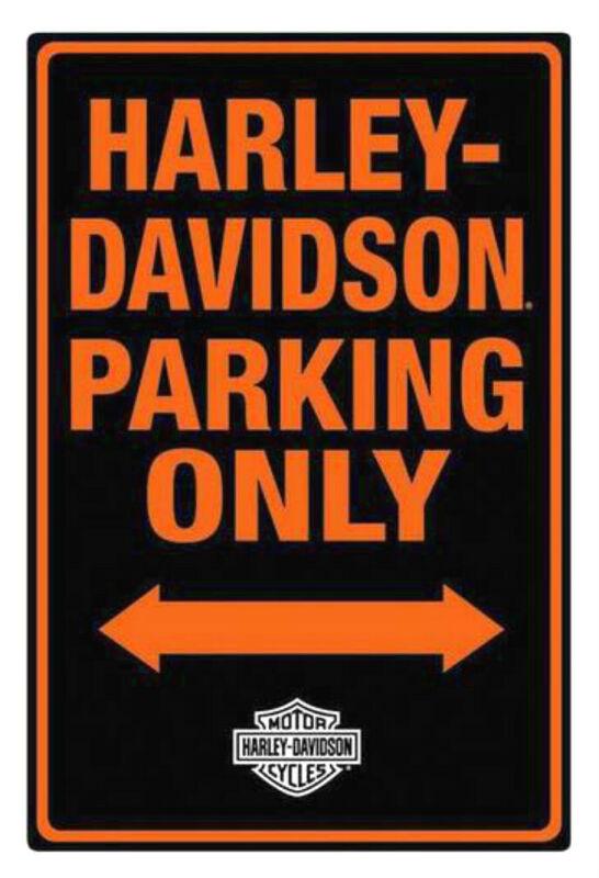 Harley-Davidson® Parking Only Embossed Black & Orange Tin Sign 2010971