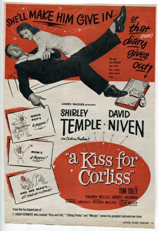 "VTG ""a Kiss for Corliss"" 1949 Shirley Temple David Niven Movie Magazine Print AD"