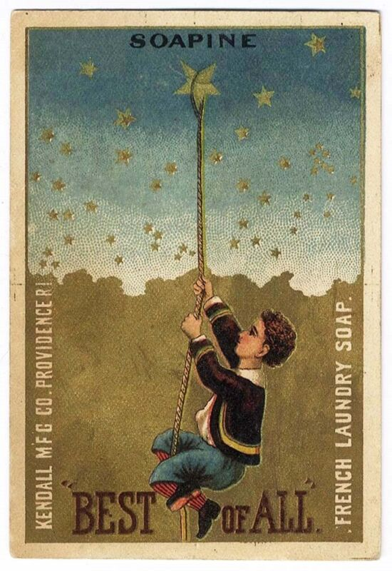 SOAPINE Soap Victorian Trade Card BOY Climbing to Stars in Sky 1880