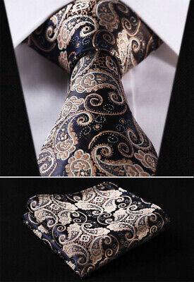 Mens Tie Brown Gold Black Woven Ties Necktie Wedding Silk Handkerchief Paisley  Woven 3 Mens Tie