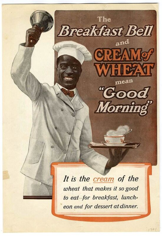 Ringing Breakfast Bell CREAM OF WHEAT Large Ad 1904 African American Cook