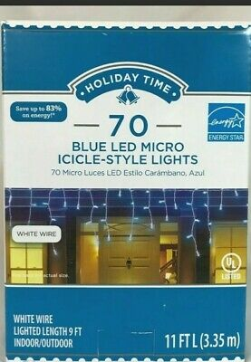 Holiday Time 70 Blue Led Micro Icicles-style Lights Energy Saver 11Ft Indoor/Out