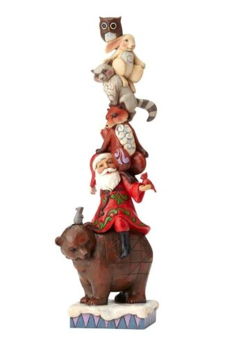 Stacked Santa With Woodland Animals Figurine 12.25""
