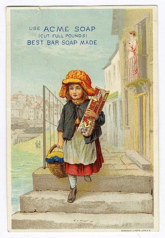 LAUTZ BROS Little Girl & Box ACME SOAP Victorian Trade Card 1880
