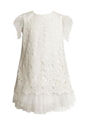 Sly Mädchen Kleid Kommunion Hochzeit Blumenmädchen Party Fest Spitze Tüll Weiß
