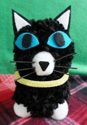 HANDMADE OOAK - PERSONA 5 - ANIME - MORGANA BLACK CAT - POM POM PALS COLLECTIBLE