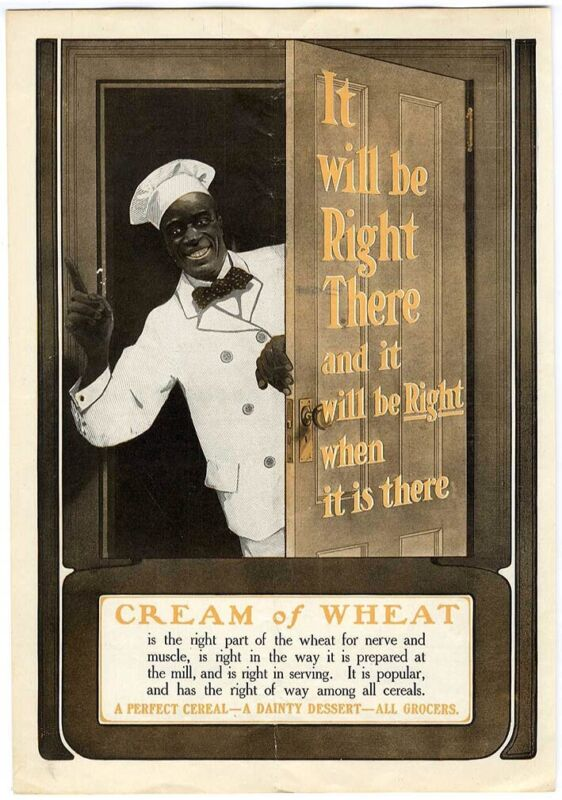 1905 CREAM OF WHEAT Cereal Large AD African American Cook Greeting at Door