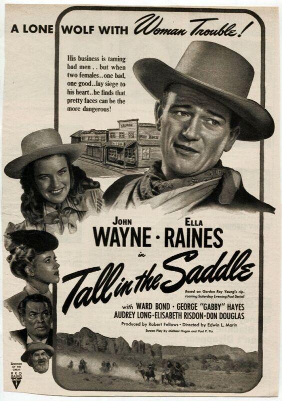 "VTG ""Tall in the Saddle"" 1944 John Wayne Ella Raines Movie Magazine Print AD"