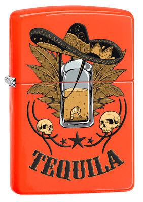 Zippo Custom Lighter Tequila Bottle with Sombrero Regular Neon Orange New in Box - Custom Sombrero