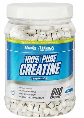 (54,17 Euro/100g) Body Attack Creatine Kapseln 600 Capsules Kreatin online kaufen
