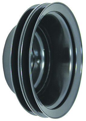SB Chevy SBC Black 2 Groove Long Water Pump Crank Pulley 283 327 350 400 V8 LWP