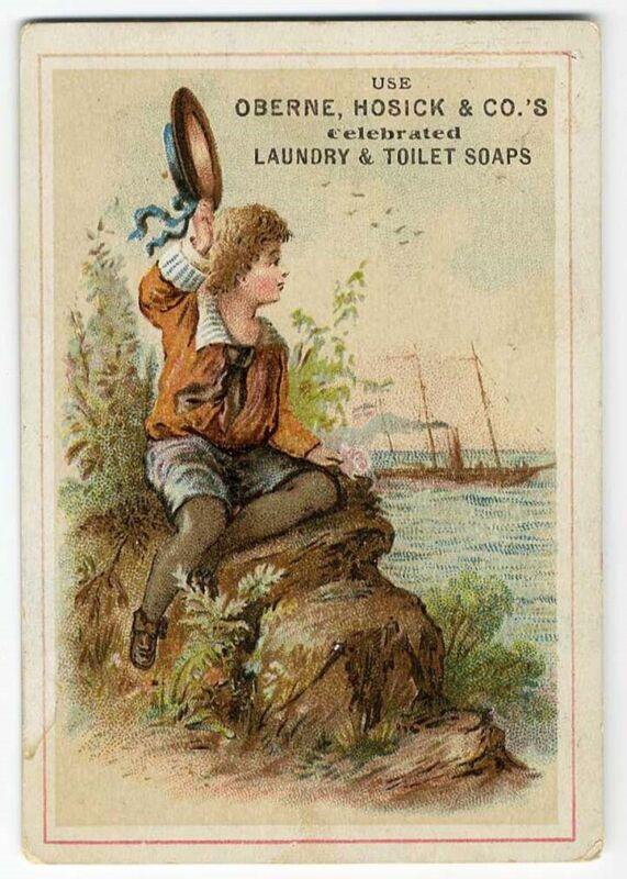 OBERNE HOSICK & CO Laundry Toilet Soap LITTLE BOY SEA Victorian Trade Card 1880s