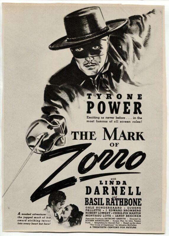 "VTG ""The Mark of Zorro"" 1940 Tyrone Power Linda Darnell Movie Magazine Print AD"