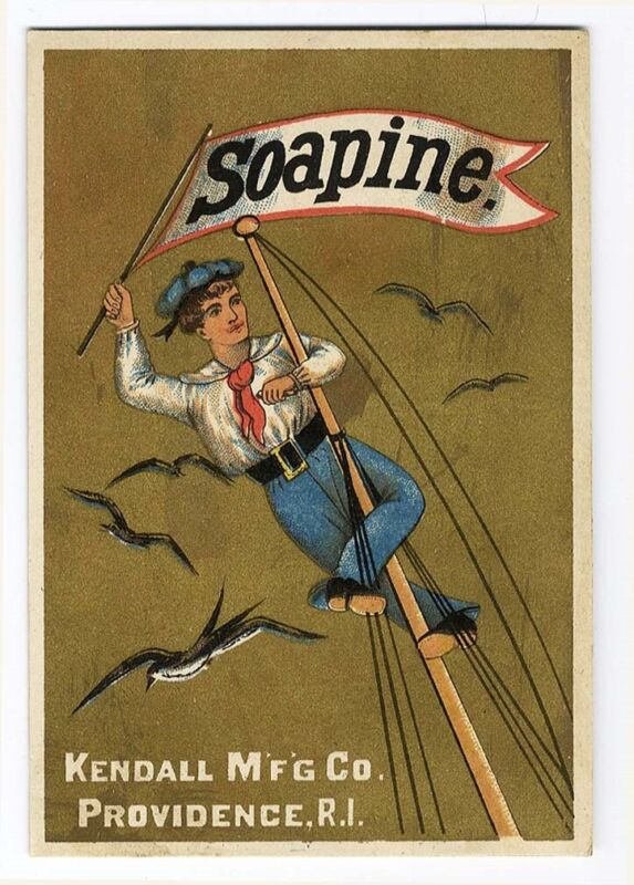 SOAPINE Kendall Soap SAILOR BOY Climbing Mast VICTORIAN Trade Card 1880