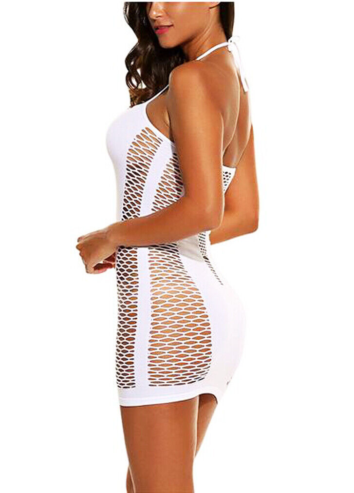 Women Sexy Lingerie Halter Mesh Teddy Babydoll Nightwear Backless Mini Dress US Clothing, Shoes & Accessories