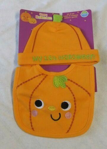 NWT MY 1st HALLOWEEN Bib Hat Set One Size Neat Solutions Pumpkin Orange