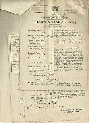 Carteggio Pagamenti Montiglio Casale Monferrato Bollette Alloggio Militare 1871