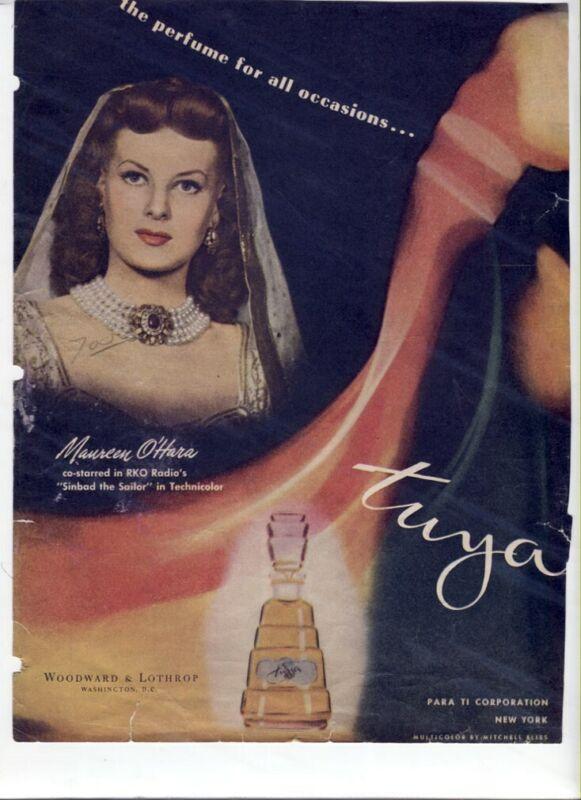 VTG 40s 1947 Movie Star AD Tuya Perfume Maureen O