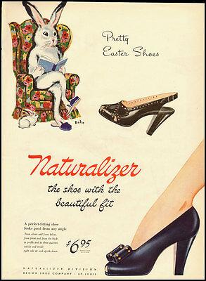 1945 Vintage ad for Naturalizer Shoes/Easter Shoes/Rabbit (032613)