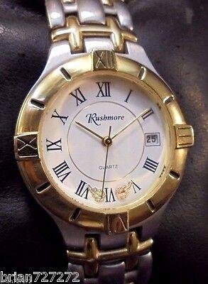 Black Hills Mens Bracelets - New Batt~Rushmore~Black Hills Gold~Mens SS/Gold Bracelet Watch~Solid Gold Leaves