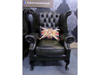 Professionally Refurbished Chesterfield Queen Anne Wing Back Chair Green Leather Delivery