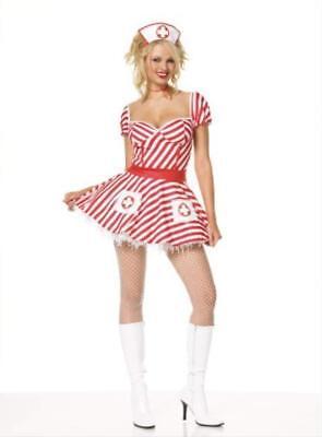 Striper Costumes (Nurse Sexy Candy Striper 2 Pc Dress, Headpiece Costume LegAve 83046 size m,)