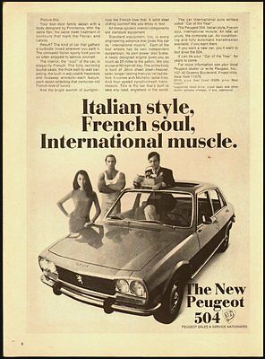 1970 Vintage magazine ad for The New Peugeot 504/4 door   (110212)