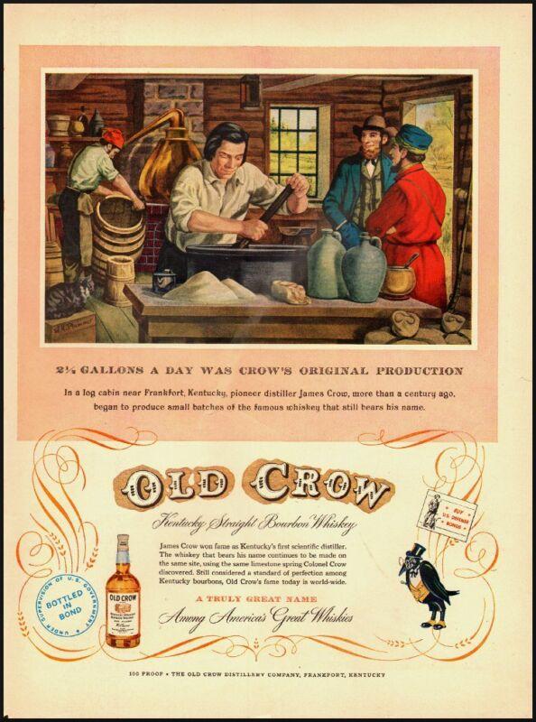 1952 Vintage ad for Old Crow /art Franfort, Kentucky,pioneer distiller (040313)