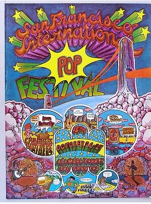 San Francisco International Pop Festival Concert Poster 1968 Deep Purple Hippie