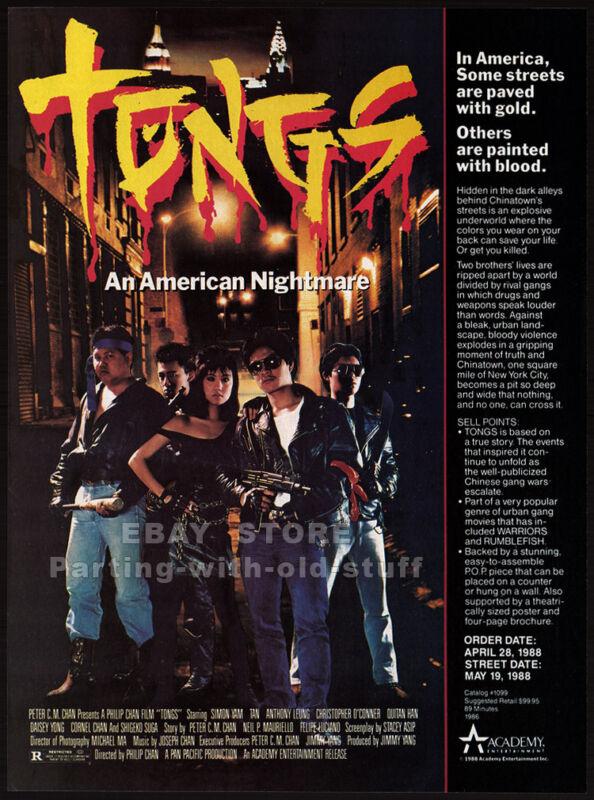 TONGS: A Chinatown Story__Original 1988 Trade print AD movie promo__SIMON YAM