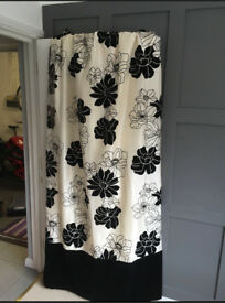 Cream and black floral curtains