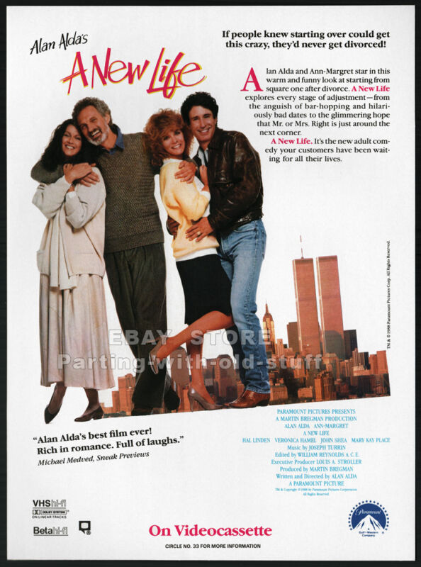 A NEW LIFE__Original 1988 Trade print AD promo__ALAN ALDA__ANN MARGRET_JOHN SHEA