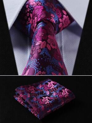 Mens Tie Pink Blue Fuschia Woven Ties Necktie Wedding Silk Paisley Floral Hanky Woven 3 Mens Tie