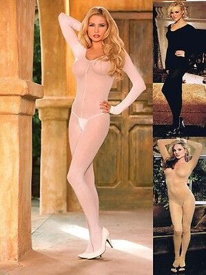 PLUS SIZE LINGERIE SHEER LONG SLEEVE BODYSTOCKING O/S QUEEN  O/S REGULAR S - L  - Body Stocking Plus Size