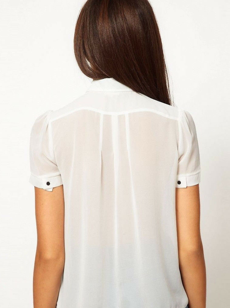 River Island Cream and Black Semi Sheer Collared Short Sleeve Blouse.Size 10.