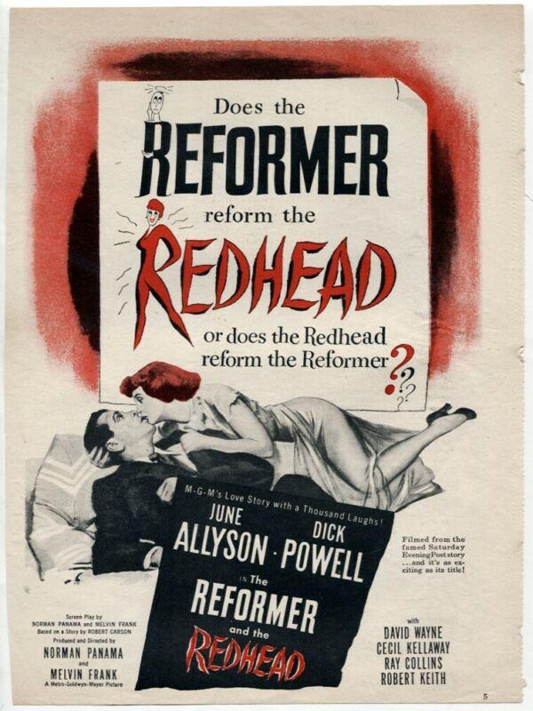 "VTG ""The Reformer & The Redhead"" 1950 June Allyson Dick Powell Movie Magazine AD"