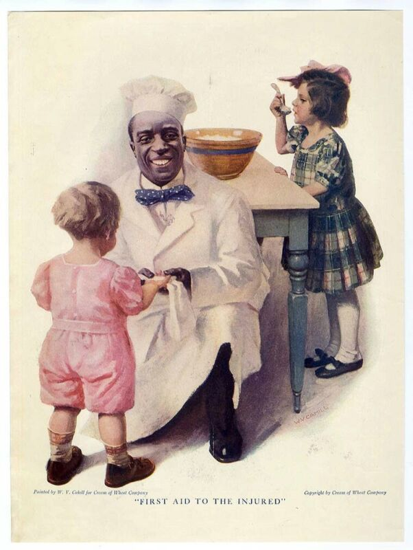 CREAM OF WHEAT AD 1920 African American Cook Giving FIRST AD to Child