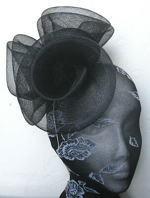 black feather fascinator millinery burlesque headband wedding hat hair piece x