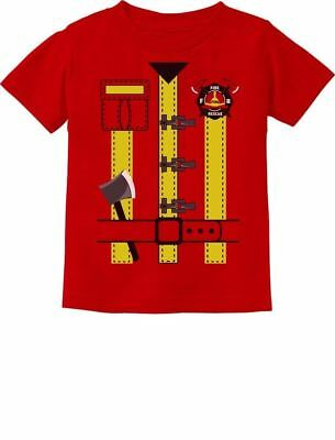 Fireman Uniform Firefighter Halloween Costume Toddler Kids T-Shirt Funny - Toddler Fireman Halloween Costume