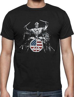 4th of July Abe Lincoln Rocks American Flag Funny Drummer T-Shirt (Abe Rocks)