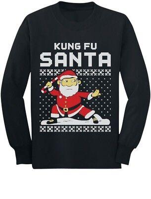 Kids Ugly Christmas Sweater (Kung Fu Santa Ugly Christmas Sweater Toddler/Kids Long sleeve T-Shirt Xmas)