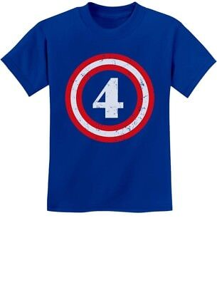 Captain 4th Birthday - Gift for Four Years old Youth Kids T-Shirt Super Hero ()