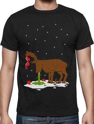 Ugly Christmas Shirt Ideas (Xmas Reindeer Hangover Funny Ugly Christmas Party T-Shirt Gift)