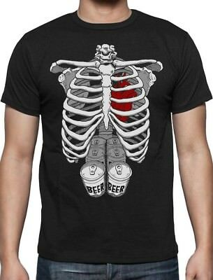 Halloween Skeleton Six Pack Beer Party Abs Xray Funny Costume T-Shirt Rib Cage - Six Pack Beer Halloween Costumes